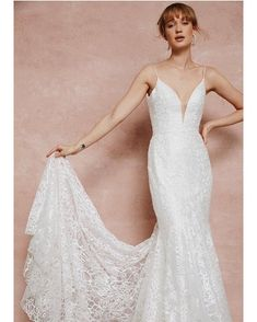 Allover sequined lace, deep V neck with spaghetti straps, and a fit & flare silhouette. Low V back with buttons down the zipper and a chapel train. Gown shown in ivory. Bridal Gowns, Wedding Gowns, Chapel Train, Bridal Collection, Fit And Flare, Personal Style, Bride, Lady, Beauty