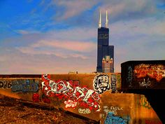 Grittier side, but still a culture that shadows the community.How Chi's gangs communicate, from the Insane Disciples to the Mickey Cobras. Chicago Gangs, Chicago Street, Graffiti Artwork, Street Graffiti, Environmental Design, Street Artists, Spray Painting, Local Artists, Willis Tower