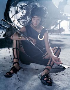 "Vogue Italia, March 2014 ""Like a Warrior"" Photographer: Tim Walker Styling: Jacob K Hair: Malcolm Edwards Makeup: Val Garland Nails: Anatole Rainey Model: Mariacarla Boscono"
