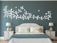 Bedroom Paint Design, Bedroom Wall Designs, Room Ideas Bedroom, Home Room Design, Bedroom Decor, Wall Stickers Home Decor, Nursery Wall Decals, Simple Wall Paintings, Teen Room Designs