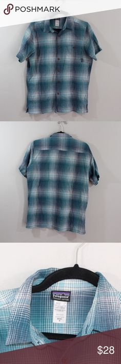 Patagonia Organic Cotton Plaid Short Sleeve Shirt Patagonia Organic Cotton Outdoor Shirt  Shirt  Comes from a smoke-free household   Blue plaid   The size is Medium  Measurements are:  20.5 inches underarm to underarm 27.5 inches top to bottom  Organic Cotton   Check out my other items in my store Vogue Squared!   XL1 Patagonia Shirts Casual Button Down Shirts