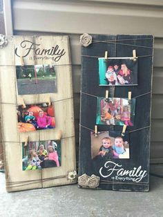 Cute idea to hang in your house. You could also do one for Teens and write friends so they can hang pictures of their friends. - Diy Home Crafts Pallet Crafts, Pallet Art, Wooden Crafts, Pallet Projects, Craft Projects, Craft Ideas, Diy Pallet, Pallet Gift Ideas, Easy Wood Projects