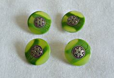 4 Buttons Vintage Buttons Lucite Green Metal Shank Buttons by TreasureCoveAlly on Etsy