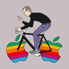 If Apples rolled as well as wheels, this is what Steve Jobs may have ridden. The work of artist Mike Joos