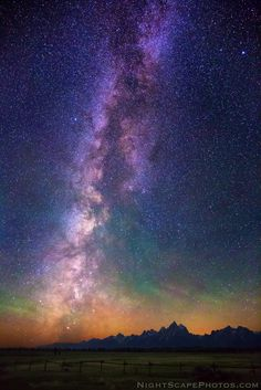 Milky Way Dawn by Royce's NightScapes Pre-dawn (3:28 AM). Milky Way over the Grand Teton Range, near Moran Junction, Wyoming. Due to airglow and smoke in the air from recent wildfires, this is one of the most colorful Milky Ways I've ever photographed.