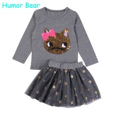 ff54cc5918701 Humor Bear NEW Autumn Baby Girl Clothes Girls Clothing Sets Cartoon Sequins  Cat Long Sleeve+Stars Skirt Casual 2PCS Girls Suits-in Clothing Sets from  Mother ...