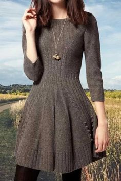 Solid Pleated Ribbed Knitted A-line Sweater Dress - fulday Source by Dresses Elegant Dresses, Pretty Dresses, Casual Dresses, Sexy Dresses, Summer Dresses, Formal Dresses, Wedding Dresses, Classic Dresses, Fall Dresses