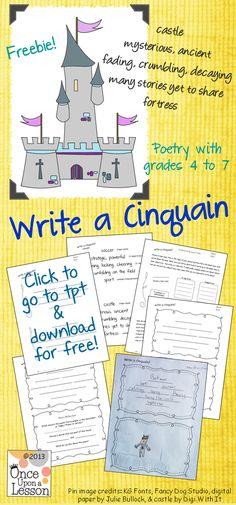 Have fun writing poetry with grades 4 to 7 with this 'Write a Cinquain' (a five –line poem) activity. Everything you need is included (including a rough draft and info sheet for students), and it is print-and-go ready! And it's free. By Once Upon a Lesson. #poetry #writepoetry #cinquain
