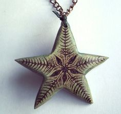 Star Necklace Wooden Pendant Hand Carved. Star by FluffyFenris