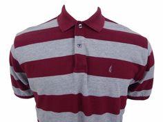 Nautica Polo Shirt Size XL Embroidered Logo Purple & Gray Striped Cotton #Nautica #PoloRugby
