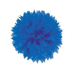 μπλε πομ πομ για τη διακόσμηση του πάρτυ