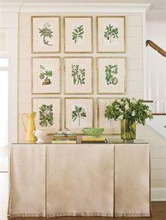 Design Entrée, Interior Design, All White Room, Table Covers, Botanical Prints, Family Room, Wall Decor, Floral, Inspiration