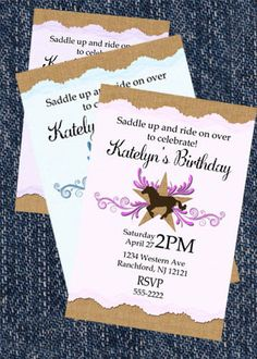Horse Invitations-Personalized Invitation-Horse Birthday Invitation-Girl-Pink-Purple-Light Blue-pony rides-horseback riding party