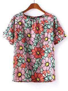 Buy Sunflowe Print Keyhole T-shirt from abaday.com, FREE shipping Worldwide - Fashion Clothing, Latest Street Fashion At Abaday.com
