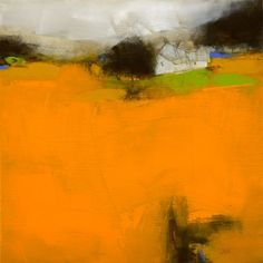 roger lane abstract landscape orange draws the eye in and then up to the darker values and one little spot of blue (complimentary to the orange)