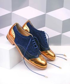 Gold and Navy Two Tone Wingtip Women's Oxfords Lace up Flat Brogues image 1 Oxford Shoes Outfit, Women Oxford Shoes, Dress Shoes, Dance Shoes, Shoes Uk, Pump Shoes, Me Too Shoes, Saddle Shoes, Glitter Shoes