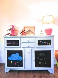 j'aime le meuble (comme chez ma grand-mère) et la peinture ardoise