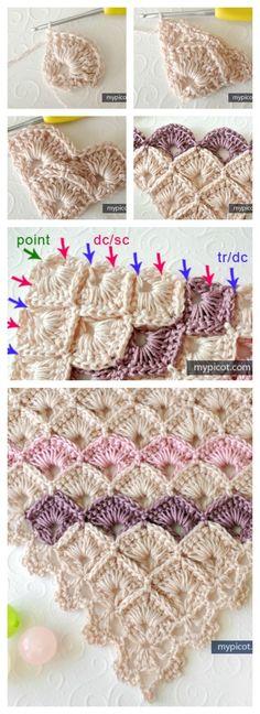 Triangle Shawl Box Stitch Crochet Free Pattern::