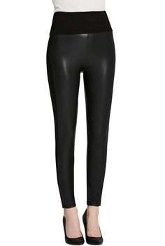 59cb1d7a585 Everbellus Womens Black Faux Leather Leggings Girls High Waisted Sexy  Leather Pants Large -- You