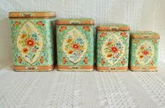 Vintage set tin cannisters turqoise mint green aqua & orange floral Holland hinged lid lids canister cookie jar biscuit tins English cottage