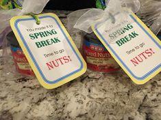 Spring Break teacher gifts. Assorted nuts.