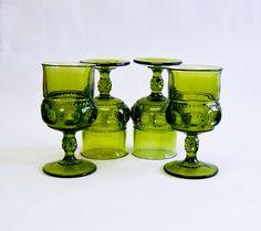 Dark Olive Green Wine Glass Goblet, Set of 4, Vintage Barware, Indiana Glass Kings Crown on Etsy, $32.00