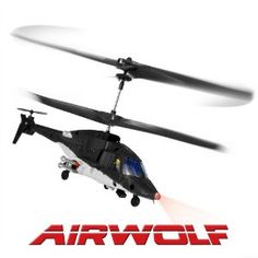 Add a little character to your RTF RC helicopter hobby with an Airwolf helicopter. She is modeled after the hit TV series called Airwolf. The replicas in RC are all real beauties. Simple to fly 3 channel models with built in gyros that you just add batteries and you are flying right out of the box. You will find helicopter models in all RC classes all the way up to large 9 channel models with retractable landing gear.