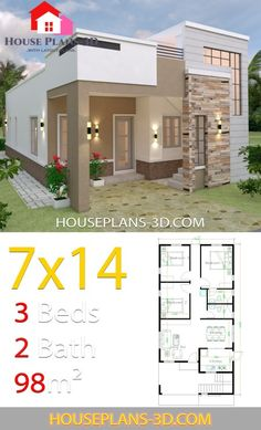 Architectural house plans - House Design with 3 Bedrooms Terrace Roof – Architectural house plans Single Floor House Design, Modern Small House Design, Simple House Design, House Front Design, Minimalist House Design, Simple House Plans, My House Plans, Duplex House Plans, House Layout Plans