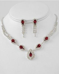 Image detail for -New RED rhinestone necklace pierced earring set prom jewelry