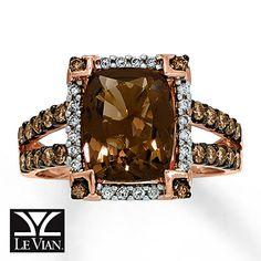 Chocolate Quartz™ Ring 1/2 ct tw Diamonds 14K Gold.... loving chocolate
