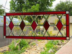 Red and Amber Diamonds Stained Glass Window via Etsy