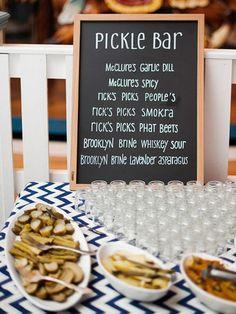 Pickle Bar - Creative Food Stations - 2015 Wedding Trends and Ideas 2015 Wedding Trends, Wedding 2015, Dream Wedding, Choco Taco, Wedding Reception Planning, Reception Ideas, Event Planning, Reception Party, Wedding Catering