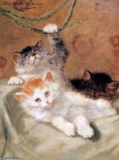 trois chatons jouant soleil de Henriette Ronner Knip (1821-1909, Netherlands)