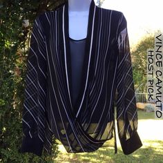 NWOT Vince Camuto Black Striped Sheer Dress Top NWOT Vince Camuto Black & White Striped Sheer Dress Top XS. I'm offering 30% bundles. Also, you can use the red dot 4/$20 items to make my discount of 30% kick in  Vince Camuto Tops Blouses