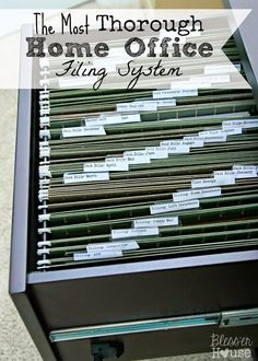 Organizing the Most Thorough Home Office Filing System – Bless'er House - home office organization files Organisation Hacks, Office Desk Organization, Organizing Paperwork, Organizing Your Home, File Cabinet Organization, Organizing Ideas For Office, Organizing Tips, Organising, Office Shelving