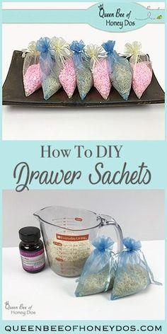 Drawer 93873 How to DIY Drawer Sachets - Make these super easy and quick sachets to keep your drawers and linens smelling fresh from the dryer all year long! Mason Jar Diy, Mason Jar Crafts, Diy Cleaning Products, Cleaning Hacks, Diy Hacks, Cleaning Agent, Craft Gifts, Diy Gifts, Diy Scented Gifts