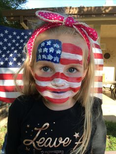 Patriotic face paint! American flag, Fourth of July, proud to be an American girl