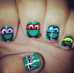 Ninja Turtle nails! I should do these on my toes this summer.