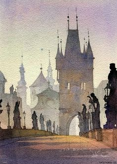 """Charles Bridge (Prague 1, watercolor)"" ~ Click through the large version for a full-screen view (on a black background in Firefox), set your computer for full-screen. ~ Thomas  W. Schaller ~ Miks' Pics ""Artsy Fartsy lll"" board @ http://www.pinterest.com/msmgish/artsy-fartsy-lll/"