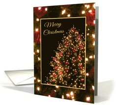 Merry Christmas/Christmas Tree with Lights and Red Ornaments card. (35 SOLD) Thank you customer in California!
