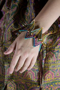 Geometric beadwork. Bangle. Fortune teller colorful by AnnaMosztok, $115.00