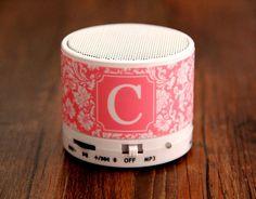 Stylish Floral Custom Monogram Wireless Bluetooth Mini Speaker for iPhone