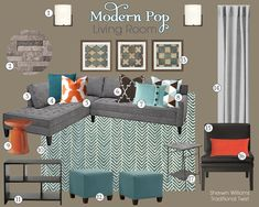 Modern Pop Living Room Mood Board | Teal and Lime Interiors