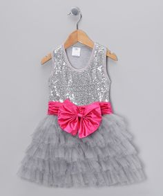 Take a look at this Silver Sequin Bow Tutu Dress - Toddler & Girls on zulily today!