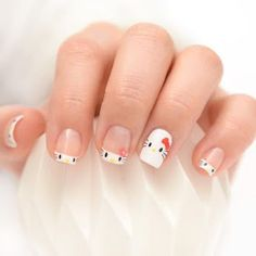 Who said Hello Kitty was just for little girls? Check out these colorful and super cute Hello Kitty nail art designs you're gonna love! French Manicure Designs, Pedicure Designs, French Tip Nails, Simple Nail Designs, Nail Art Designs, French Tips, Nails Design, Nail Art Hello Kitty, Ongles Hello Kitty
