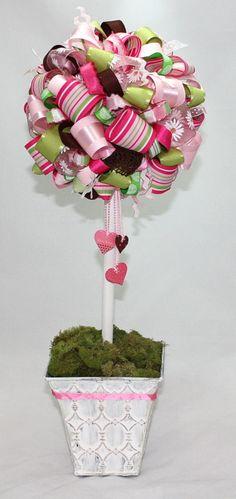 Ribbon topiary as baby nursery decor