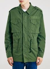Khaki green cotton field jacket with zip closure and button cover. Cotton Fields, Summer Jacket, Men's Coats And Jackets, Field Jacket, Khaki Green, Green Cotton, Parka, Military Jacket, Menswear