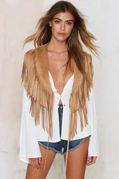 Run Wild Fringe Shrug Vest - Tan