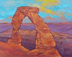 Landscape Prints, Landscape Art, Landscape Paintings, Watercolor Paintings, Original Paintings, Landscapes, Watercolor Ideas, Delicate Arch, Sunset Art