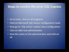 Solve Microsoft Error 262| Microsoft Windows 10 Support Sql Server, Microsoft Windows, Windows 10, Youtube, Youtubers, Youtube Movies